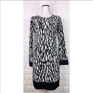 CACHE Long Sleeve Black White Sheath Dress